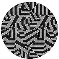 U/S カーペット 洗える 滑り止め付き 耐摩耗性 贈り物 ファッション 滑り止めドアマットラウンド /Black And White Ytuyttterns (60cm)