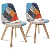 IDMarket - Lot de 2 chaises SARA Motifs patchworks Multi-Couleurs