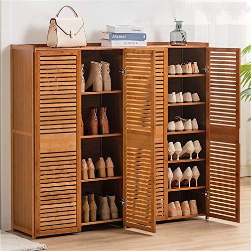 LiChaoWen Estante de Zapatos Puerta Simple Dormitorio Estante del hogar Gabinete de Zapatos Multi-Capa Almacenamiento a Prueba de Polvo Armario Zapatero (Color : Marrón, Size : 117x33x100cm)
