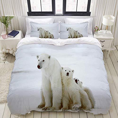 Funda nórdica, familia de osos polares con dos pequeños cachorros de oso alrededor de la nieve del frío invierno del norte, juego de ropa de cama Ultra cómoda, ligera y lujosa Juegos de fundas