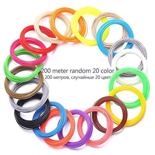 NOLOGO 3D 200 Filament Imprimante 20 Mètres d'impression Couleur Matériau Ligne en Plastique 1,75 Mm Fil 3D Imprimante Fournitures Stylo Silk Material (Color : 200 Meter 20 Color)