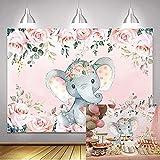 BINQOO 2,1 x 1,5 m lindo bebé elefante telón de fondo para baby shower rosa floral es una niña recién nacida fiesta fotografía fondo bebé niñas niño cumpleaños