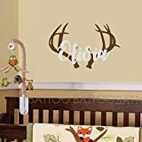 """BATTOO Personalized Name Wall Decal Deer Head Decor- Wall Decal Boys Hunting Themed Woodland Nursery Decor- Wall Decal Kids Deer Antler Wall D¨¦cor 28""""w X 18.5""""h"""