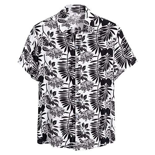 Adaoxy Hawaiihemd Herren Drucken Ethnische Lässig Button Down Strandurlaub Hemd Kurzarm Casual Bluse T-Shirt