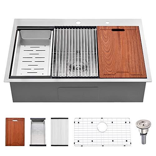 33 Kitchen Sinks Drop In -Bokaiya 33x22x10 Drop In Stainless Steel Kitchen Sink Topmount Workstation Ledge 16 Gauge R10 Deep Single Bowl Drop-in Kitchen Sink