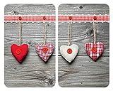 WENKO Plaque de protection en verre universel Coeurs - lot de 2, pour tous les types de cuisinières, Verre trempé, 30 x 52 cm, Multicolore