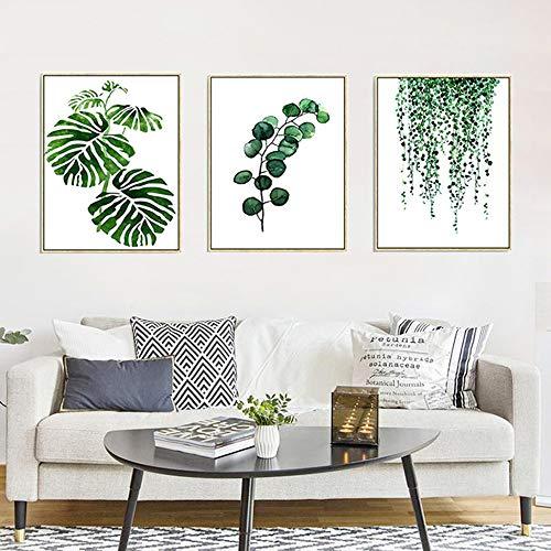 Set de 3 Affiches 30x40 Vert Tropical Plante Feuilles Toile Art Poster Décoration Murale Nature Tableau Moderne Design Impressions sur Toile Affiche Deco Salon PTLS002-M