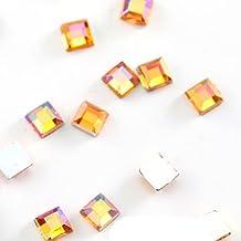 100 stuks vierkante vorm acryl niet hot fix strass steentjes platte achterkant zilveren onderkant kristallen lijm op steen...