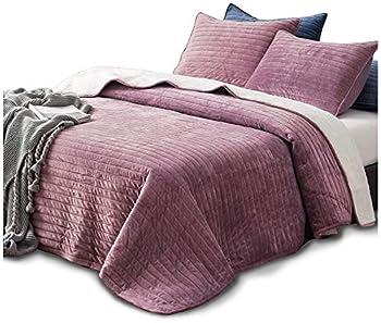 Kasentex Plush Poly Velvet Lavish Design Quilt Set with Reversible Shu Velveteen Sherpa - Luxurious Bedding Soft & Warm Comforter Machine Washable Comforter  Rosy Mauve Queen + 2 Shams