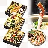 【くら寿司特製おせち料理】おせち三段重&かに鍋600gセット【12月30日お届け】 4~5人前 四大添加物無添加 予約