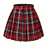 Girl's Japan A-line Kilt Plaid Pleated Costumes Skirts (M,Red blue)
