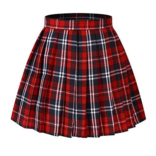 Women`s Japan School A-line Kilt Plaid Pleated Summer Skirts (L,Red blue )