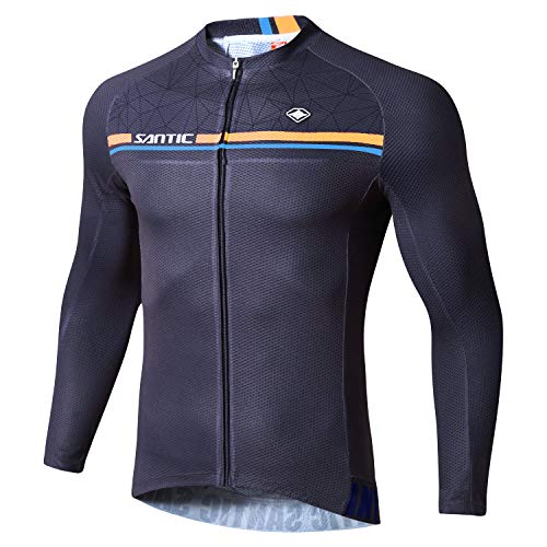 Santic Cycling Jersey Men's Long Sleeve Bike Reflective Full Zip Bicycle Shirts with Pockets Navy US L