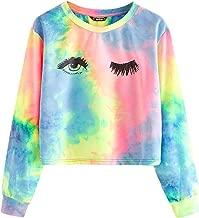 AKIMPE Clearance Sales! Women's Long Sleeve Striped Rainbow Stripe Short Crop Short Sweatshirt Jumper Black Pullover Top