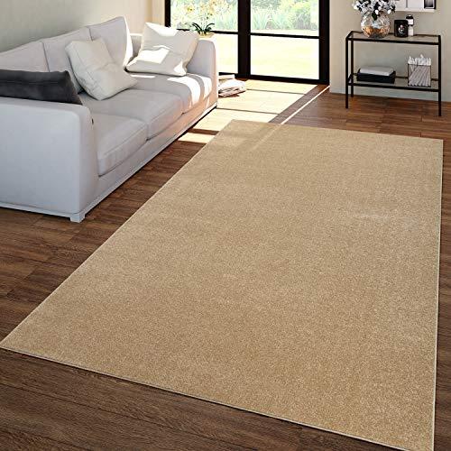 TT Home Alfombra Salón Colores Lisos Pelo Corto Moderna Suave Sencilla Dorado, Größe:140x200 cm