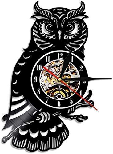 mbbvv Uhu Vinyl Schallplattenuhr Eule Reloj de Pared Decorativo Nachteule Wandkunst Uhr Kinderzimmer Kinderzimmer Dekor Tiergeschenk para niños-Without_Led