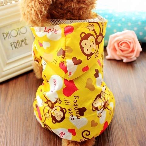 Kleine hond regenjas huisdier kleding kleren Teddy kleine honden middelgrote honden benen paraplu waterdichte poncho hond S (aanbevolen binnen 5 pond) Kleine aap gele regenjas
