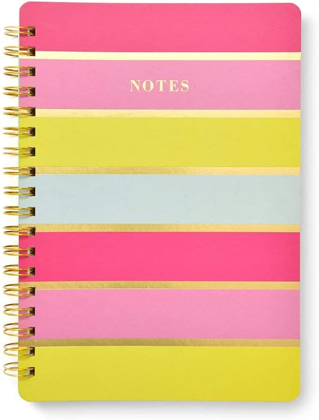 Roobee cheap Bright Stripes and Gold Foil 1 Max 85% OFF Count Notebook Spiral