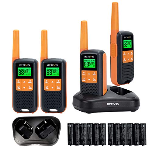 Retevis RT49 Walkie Talkie Adult Rechargeable,Waterproof Two Way Radio Long Range,NOAA Weather Alert AA Battery Flashlight,2 Way Radio for Outdoor Cruise Camping(4 Pack)