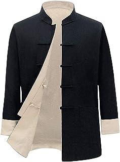 FMOGQ Męska kurtka z obu stron sztuki walki, chiński tradycyjny długi rękaw tai Chi mundurek lniany Tang garnitury Kung Fu...