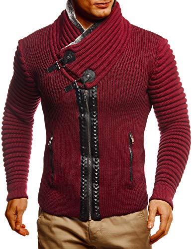 Leif Nelson Herren Strickjacke Jacke Freizeitjacke mit Schalkragen Winterjacke Slim Fit Bordeaux Rot X-Large