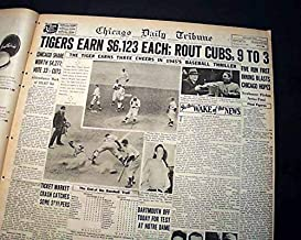 Nice DETROIT TIGERS Win World Series Champions vs. Chicago Cubs 1945 Newspaper CHICAGO DAILY TRIBUNE, Oct. 11, 1945