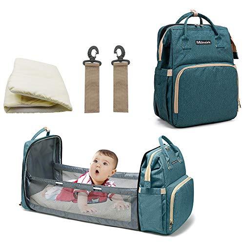 Mochila multifunción para bebé con 3 bolsillos aislantes de botella, 2 ganchos de cochecito, 1 colchón (verde)