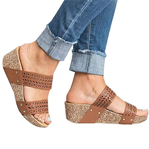 Aniywn Women's Slide Wedge Sandals Open Toe Breathable Hollow Beach Sandals Slip-On Casual Wedges Shoes Brown