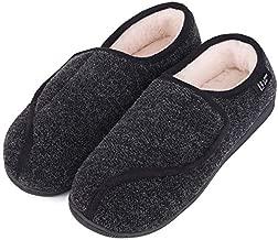LongBay Women's Furry Memory Foam Diabetic Slippers Comfy Cozy Arthritis Edema House Shoes (8 B(M), Black)