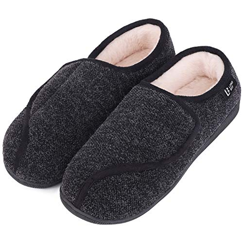 LongBay Women's Furry Memory Foam Diabetic Slippers Comfy Cozy Arthritis Edema House Shoes (8 B(M), Black)