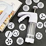 Cookie Press Gun Kit,2020 Cookie Press with 12 Decorative Discs and 6 Icing Tips, Cookie Press Storage for Baking, Cookies, Cakes and Biscuits