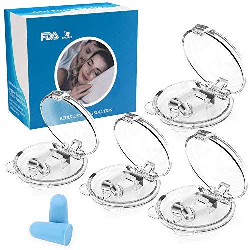 Schnarchstopper, 4+1 Stück Anti Schnarch Nasenklammer für Schnarchen, Magnet Nasen-Clip gegen Schnarchen chnarchschiene Nasenspreizer mit Aufbewahrungsbox