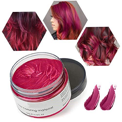 Cera de Color Para el Cabello, Tinte de Cabello Temporal Mujer y Hombre, Cera Pelo DIY, Fórmula Planta Lavable Cera de Peinado Natural Mate 4.23 OZ - Rojo