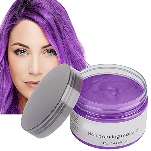Hair Color Dye Wax,Temporary Hair Color Dye Styling Mud for Men and Women,Purple Hair Wax Cream,Instant Fashion Hairstyle for Party Cosplay and Halloween(purple)