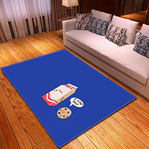 Alfombras Salon Grandes 160x230cm Azul Patrón Diseño Moderno Alfombras Mullida Tacto Suave Antideslizante Lavable Que no se Desprende Aplicar para Dormitorio Cocina Pasillo Habitacion Rugs
