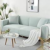 Levante Funda de sofá,Funda de sofá elástica Patrón elástico Fundas de sofá Totalmente Cerradas Funda de sillón Protector Universal de Muebles Ajustados-3 plazas_Verde Claro
