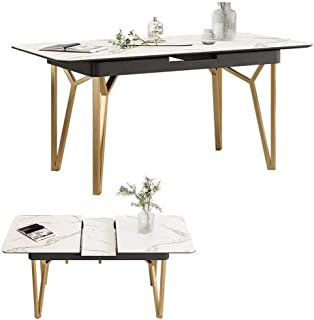 Extending Dining Table Folding Dining Table, 4-8 People Retractable Rectangular Multi-Function Table for Small Spaces, Marble