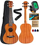 Vizcaya UK23C-MA Concert Ukulele Mahogany 23 inch with Ukulele Accessories,Gig Bag,Strap,Nylon String,Electric Tuner,Picks