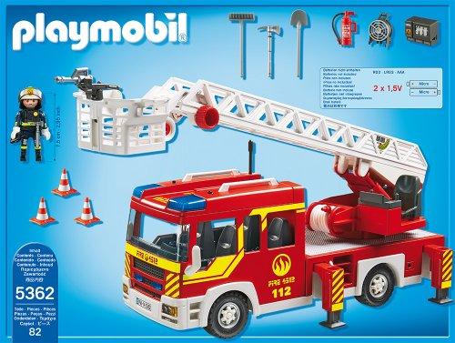 RC Feuerwehr kaufen Feuerwehr Bild 1: PLAYMOBIL 5362 - Feuerwehr-Leiterfahrzeug mit Licht und Sound*