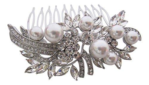 Pick A Gem Accessoires cheveux Peigne à cheveux de mariage perle Diamante et cristal incrusté Argent