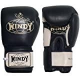 Windy Leather Muay Thai Training Sparring Gloves, 16-Ounce, Black