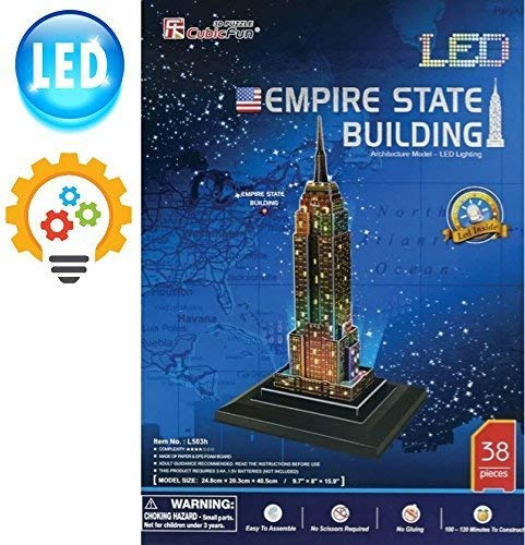 Build Wonderful Memories with Our Best Empire State Building 3D Puzzle - LED Lights - A Perfect for Kids & Adults - Fun & Easy to Assemble Yet Sturdy - No Glue/Scissors Needed - 38 Piece