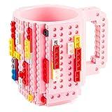 Goods & Gadgets Build on Brick Mug - Tazza da caffè con mattoncini, 350 ml rosa.