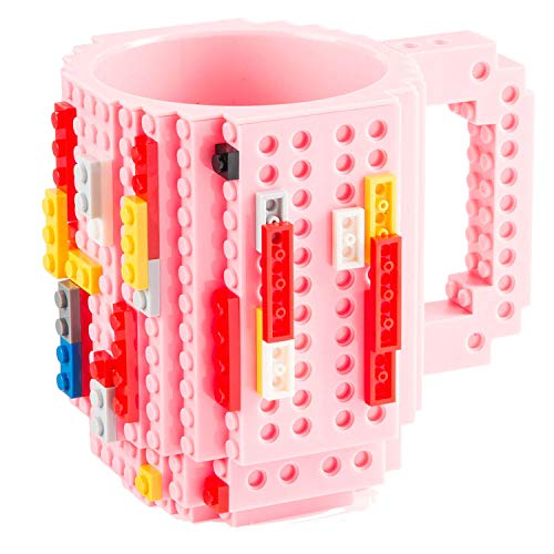 GOODS+GADGETS Build on Brick Mug Bausteine Kaffeetasse - Bausteine Tasse Bauklötze Kaffee-Becher 350ml (Pink)