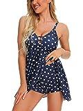 LANTIAN Vestido corto de verano para mujer, sexy, con cuello en V, estilo bohemio, estampado de lunares, casual, sin espalda, sin mangas, para mujer