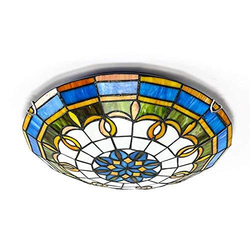 ACHNC Lámpara de Techo Dormitorio Tiffany, E27 Luz de Techo Cocina Redonda...