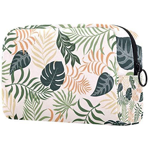 Bolsa de maquillaje de hojas de palma, bolsa de cosméticos de viaje portátil, bolsa de maquillaje con bolsa de viaje, bolsa organizadora impermeable, bolsa de almacenamiento para mujeres y niñas