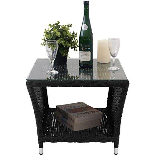 Eleganter Polyrattan Beistelltisch mit Tischglasplatte und Ablagefläche, 50x50cm - Schwarz - Gartentisch Teetisch Gartenmöbel Rattanmöbel