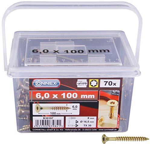 CONNEX - Viti universali/per pannelli di legno, 6 x 100 mm, testa a stella TX, testa svasata, zincate, in secchio, 85 pezzi