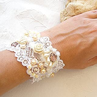 Hnadmade Wide Wedding Cuff Bracelet, Floral Vintage style Bridal Jewelry Cuff made from Antique Lace, Embroidered Beads, Pearls & Roses